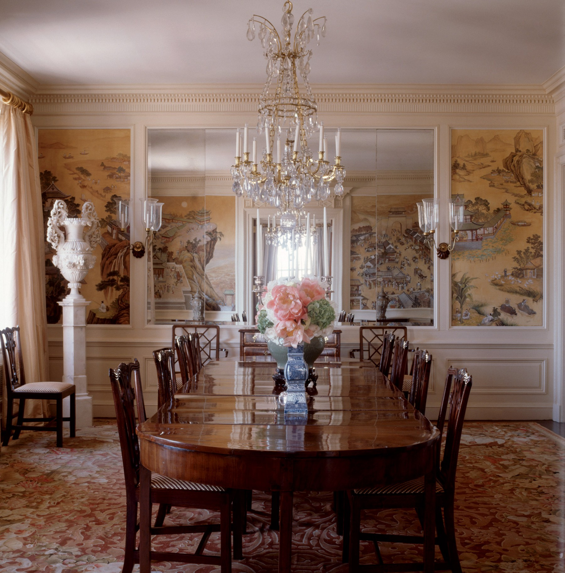 formal dining room asian art Park Avenue apartment renovation