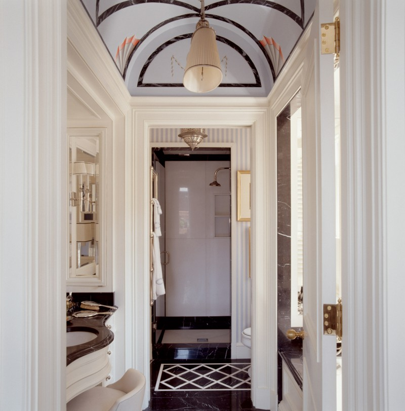 arched ceiling tiled bathroom