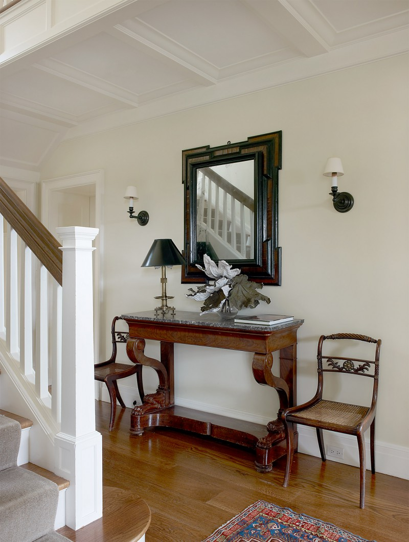 Tutor style entry architecturally design wood moldings detail
