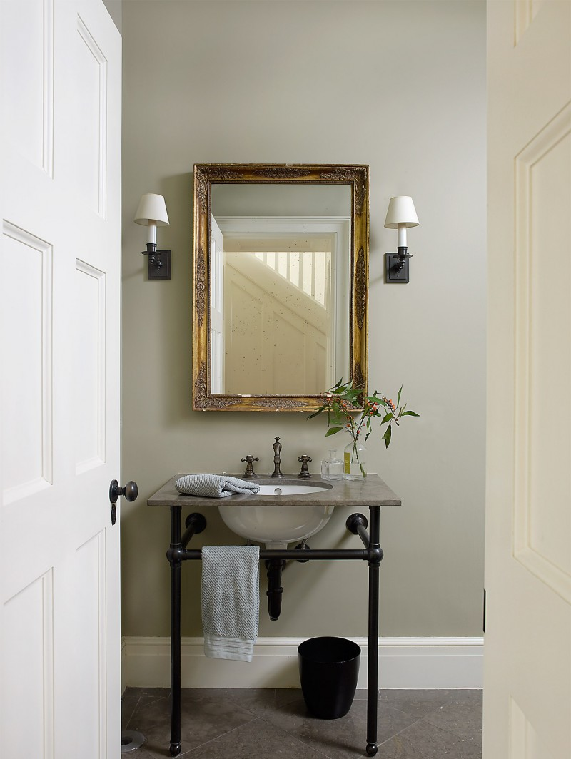 new modern powder room in old home