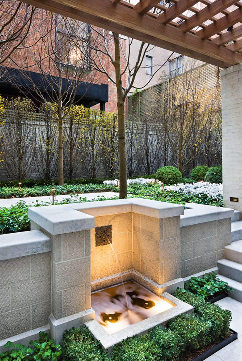 New York east side garden fountain beautiful space