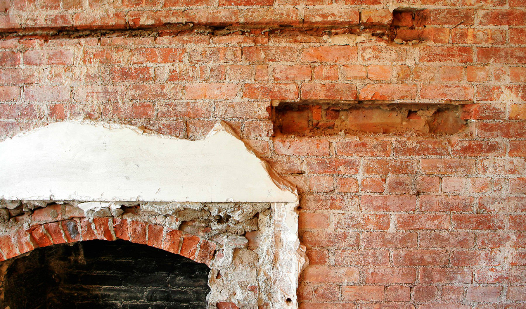 brick fireplace detail